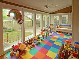kids play room interior decoration kids playroom design with long white sofa and