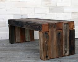 the box joint bench made from barn wood tags weathered
