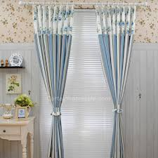 vintage bedroom curtains vintage blue stripe and floral patterns cotton poly blend fabric