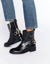 motorcycle ankle boots sale tommy hilfiger polly chain ankle boots in black lyst