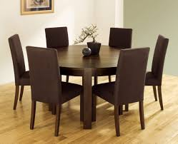 Dining Table And Fabric Chairs Furniture Dark Brown Wooden Round Dining Table Set With Six Brown