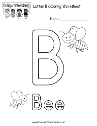 free printable letter b coloring worksheet for kindergarten