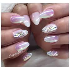 white ombré almond nails chrome nail art swarovski design