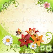 clipart of a butterfly with flowers shamrocks and lilies beige