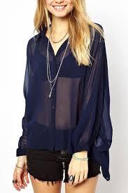 navy blue blouse blue chiffon lapel sleeve blouse womens shirts
