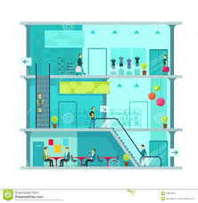 scene inside shopping mall vector illustration stock vector