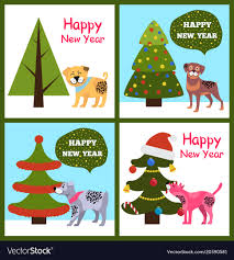 happy new years posters happy new year posters set christmas trees puppies