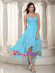 straps beading baby blue prom maxi dress with asymmetrical hem
