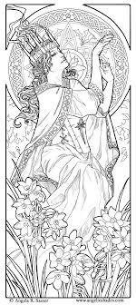 Free Coloring Page Coloring Adult Woman Art Nouveau Style Color Princess Stencil Free Coloring Sheets