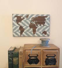 Herringbone Wood World Map Nursery Wall Decor Modern Reclaimed