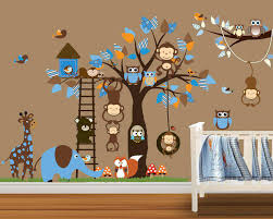 Owl Wall Sticker Owl Monkey Tree Wall Stickers Decal Boys Room Girls Room Nursery