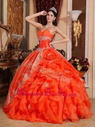 orange dress orange gown sweetheart floor length organza beading