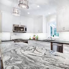 this silver cloud granite kitchen island countertop makes quite an