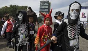 mexico city halloween children attending the kindergarten of the national autonomous