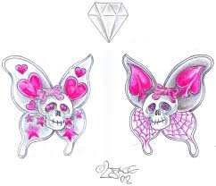 butterfly skull tattoo design by 2face tattoo on deviantart