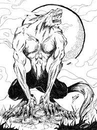 howling werewolf tattoo design