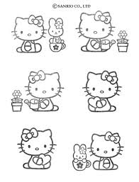 kitty gardening coloring pages hellokids