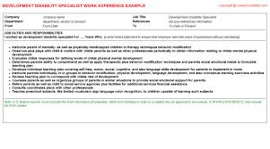 Child Development Resume Qualified Intellectual Disability Professional Cv Work Experience