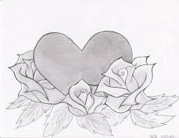 photos drawings of roses and hearts in pencil drawing art gallery