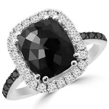 black princess cut engagement rings cut black cushion halo cocktail engagement ring