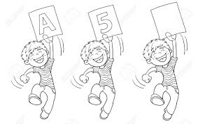 coloring page outline of a cartoon jumping boy with highest rating