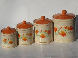 orange kitchen canisters orange poppies kitchen canisters set and breadboard 70s vintage
