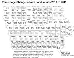 Iowa State Map Iowa Land Value Survey Results Iowa State University Extension