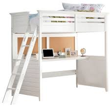 lacey twin loft bed with desk white finish transitional loft