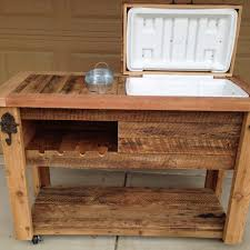 Patio Cooler Table Rustic Cooler Table With Wine Rack Rustic Woodworx