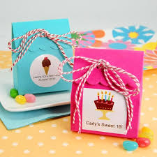 personalized goodie bags party theme scalloped favor bag with personalized label and twine