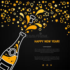 greeting for new year happy new year greeting card with chagne explosion bottle stock