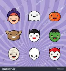 halloween background emoji cute kawaii halloween icons set funny stock vector 316613420