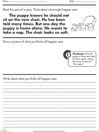 story comprehension what happens next worksheets reading