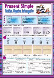 english worksheet present simple positive negative and