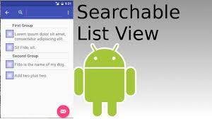 android studio create search view that lists results in