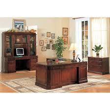 youngtown dark cherry credenza desk with hutch dcg stores