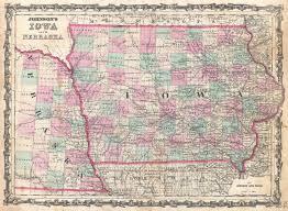 Iowa City Map File 1862 Johnson Map Of Iowa And Nebraska Geographicus Iane