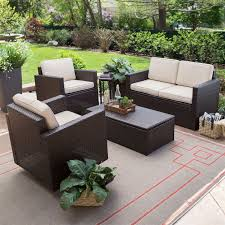 Veranda Metal Patio Loveseat Glider by Outdoor Wicker Resin 4 Piece Patio Furniture Dinning Set With 2