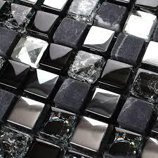 Brushed Stainless Steel Backsplash by Ice Glass Mosaic Tile Brushed Stainless Steel Backsplash