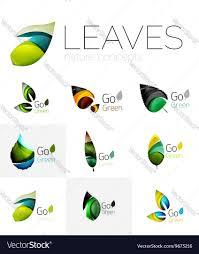 futuristic design eco leaf logo set royalty free vector