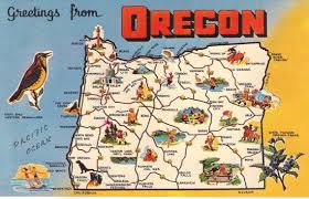 map of oregon state greetings from oregon state map vintage by heritagepostcards