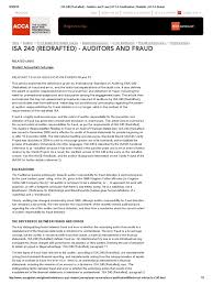 isa 240 redrafted auditors and fraud acca qualification