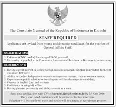 Jobs Economics Degree by The Consulate General Of The Republic Of Indonesia In Karachi Jobs