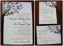 bird wedding invitations eggplant silver birds in a fall tree wedding