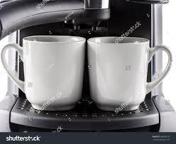 closeup modern coffee machine two white stock photo 300996122