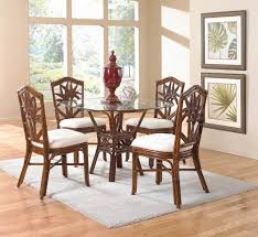 use rattan dining chairs for classic dining room designoursign simple gray area rug under decorative round glass dining table with artistic rattan chairs set