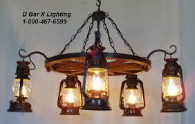ww036 rustic wagon wheel chandelier light fixture with lantern