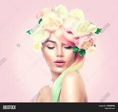 hair flowers woman beauty summer model image photo bigstock