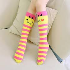 buy cute cat kid socks baby children striped colorful knee