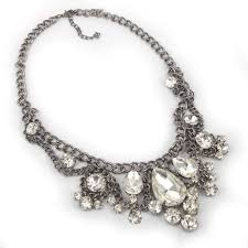 color rhinestone necklace images Vintage gun color chain white clear rhinestone crystal bib jpg